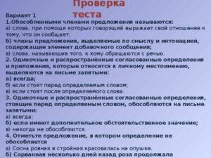 Контрольный тест по теме Обособленные члены предложения