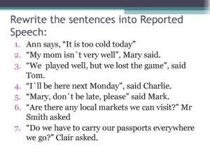 Упражнения Косвенная речь - Reported speech (8 класс)