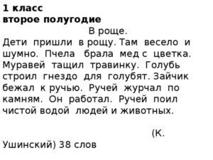 ТЕКСТЫ ПРОВЕКИ ДЛЯ ТЕХНИКИ ЧТЕНИЯ 1 КЛАСС 2-Е ПОЛУГОДИЕ