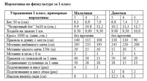 Примерные нормативы по физкультуре 1-11классы