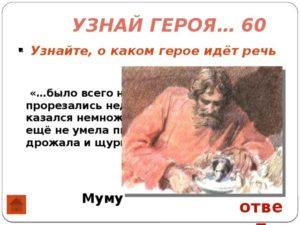 Викторина Узнай героя по его описанию (по рассказу И.С. Тургенева Муму)