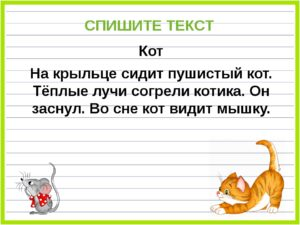 Русский язык. Списывание с печатного текста (1 класс)