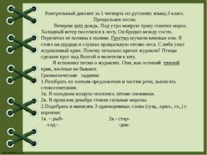 Контрольные диктанты 3 класс  Школа России