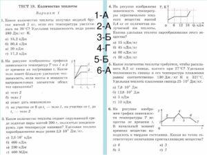 Контрольная работа по физике в новом формате для 8 класса. Тепловые явления. количество теплоты