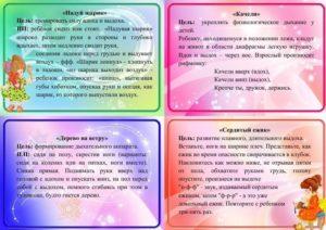 Картотека дыхательной гимнастики для дошкольников средней группы в летний период.