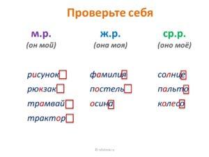 Конспект урока Род имен существительных 3 класс