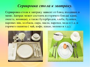 Анализ урока по технологии Сервировка стола к завтраку