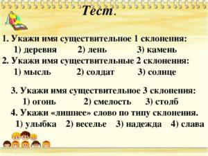 Самостоятельная работа по русскому языку на тему Склонение существительных (3 класс)