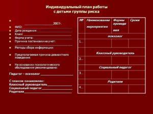 План работы с детьми ГРУППА РИСКА