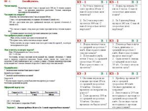 Карточки по математике Решение задач на движение (4 класс)